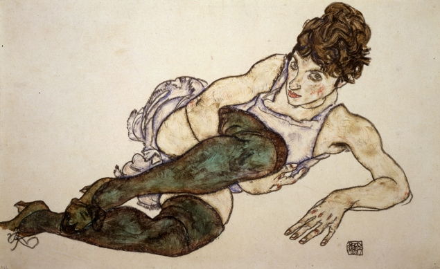 Egon Schiele, Reclining Woman With Green Stockings, 1917. (Courtesy Galerie St. Etienne)