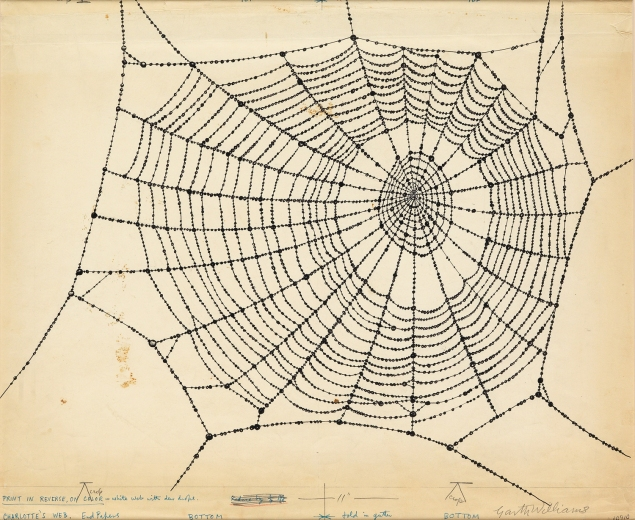 Garth Williams, Endpaper drawing for Charlotte's Web, pen, ink, and pencil, circa 1952. Estimate $10,000 to $15,000.