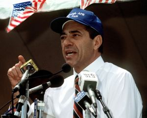 Governor Cuomo speaking at a rally in 1991. (Wikipedia)