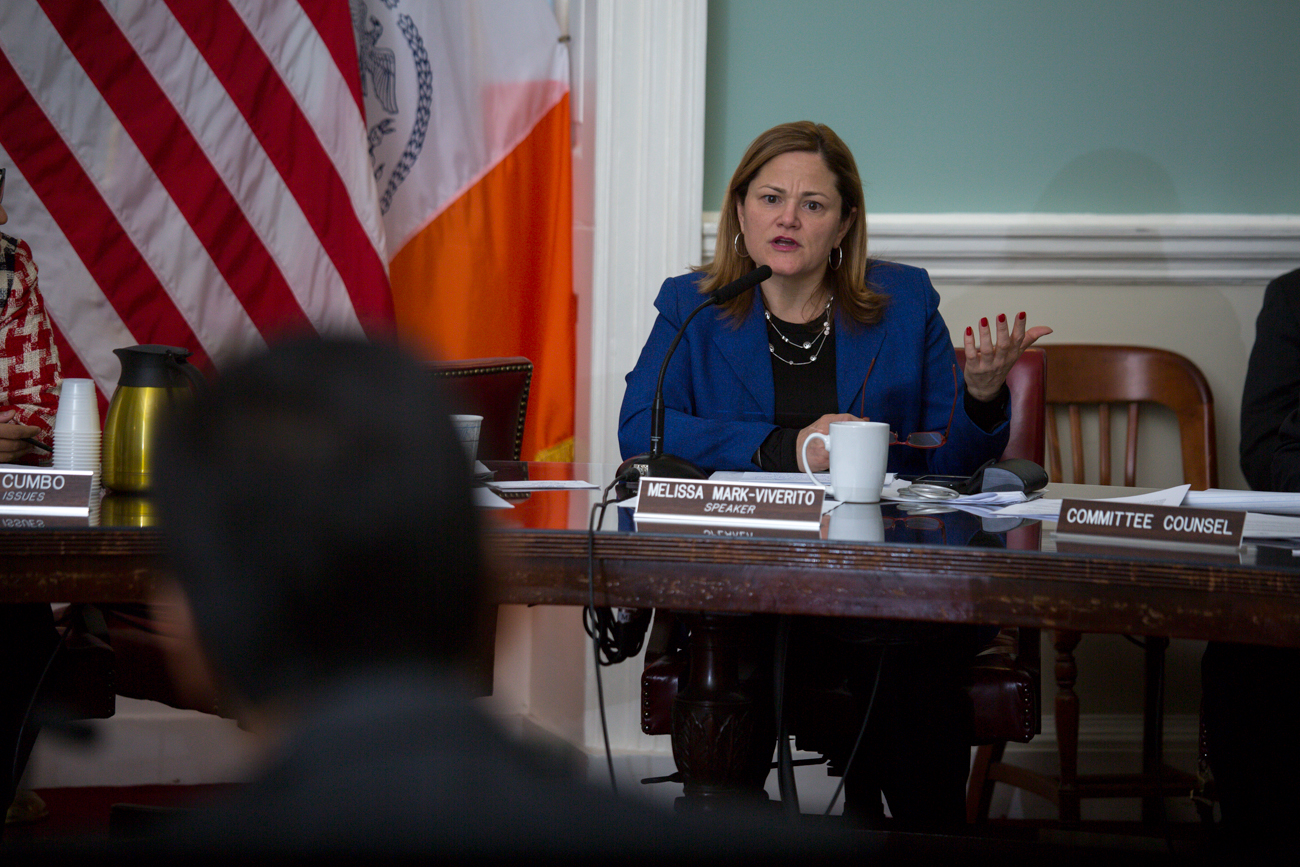 Council Speaker Melissa Mark-Viverito at a hearing on HPV today. (Photo: William Alatriste/New York City Council)