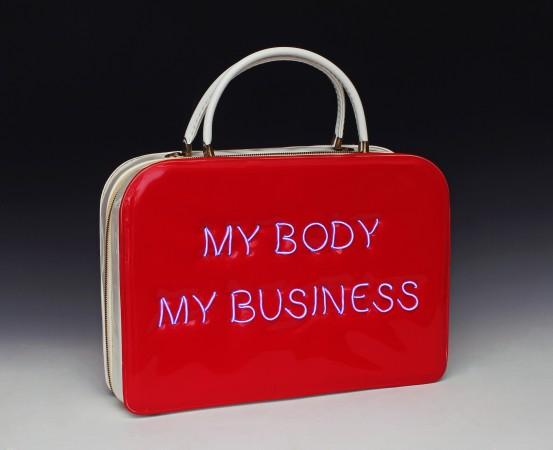 Michele Pred, Pred-a-Porter: My Body My Business #2, (2014). (Courtesy Nancy Hoffman Gallery)