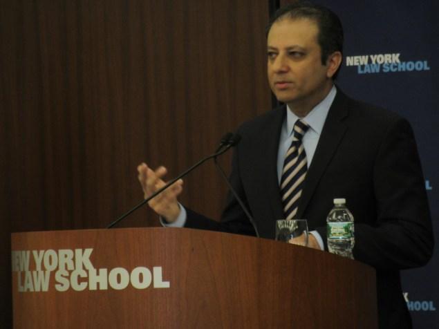 U.S. Attorney Preet Bharara speaks today (Photo: Will Bredderman/New York Observer).