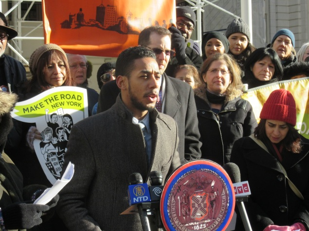 Councilman Antonio Reynoso joins Councilman Mark Levine and Councilwoman Helen Rosenthal, among others, to protest the 421-A tax break (Photo: Will Bredderman/New York Observer).