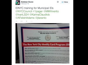 A City Council staffer's tweet of a memo on IDNYC. (Screengrab: Twitter)
