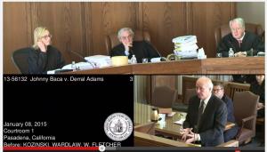 Attorneys argue the case before Ninth Circuit Judges (l to r) Kim Wardlaw, Alex Kozinski, and William Fletcher. (Johnny Baca v. Derral Adams/YouTube)