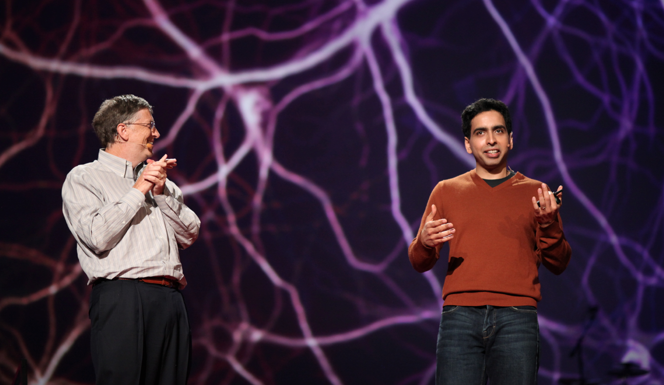 Salman Khan on stage at a TED event held by Bill Gates. Khan Academy is one of the exemplars in online education—it comes up as the crowd favorite from everyone in digital learning. (Photo via Steve Jurvetson)