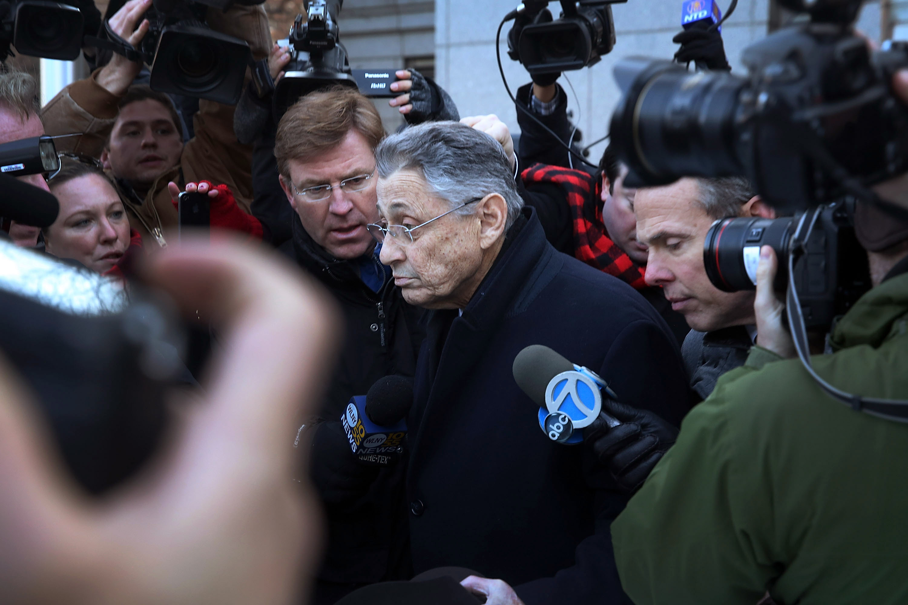 Assembly Speaker Sheldon Silver walking out of the federal courthouse today. (Photo by Spencer Platt/Getty Images)