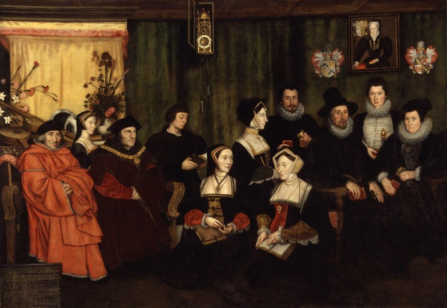 A copy of Hans Holbein's painting of Thomas More and his family, attributed to Rowland Lockey, (1593). (Courtesy Wikimedia Commons)