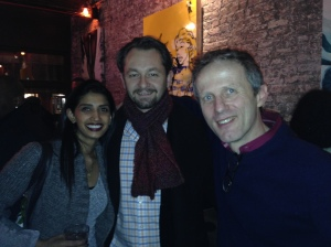 The author's friends Sunita Joergensen, Bastian Joergensen and Pierre Cormon. (New York Observer)