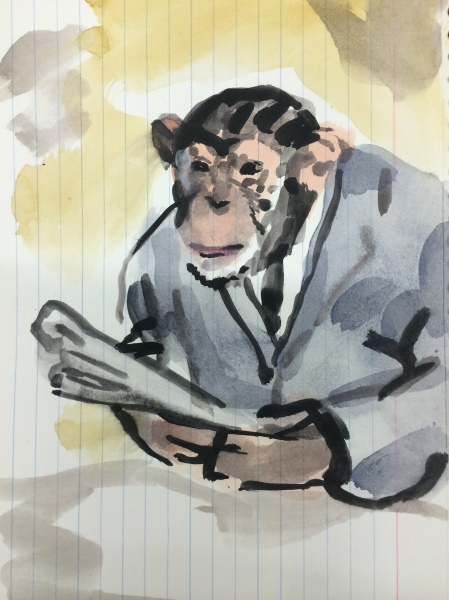 Walter Robinson, Portrait of the Artist as a Young Chimpanzee, 2015. (Courtesy of the artist)