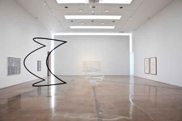 """An installation view of Troika's """"Cartography of Control"""" at Michael Kohn Gallery in Los Angeles. (© Troika, Courtesy Kohn Gallery)"""
