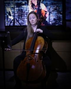 """Soso Artist's Ashley Bathgate peforming at a """"Secret Showcase"""" in a suite at the Midtown Hilton as part of the Association of Performing Arts Presenters Conference last weekend. (Photo by Annie March, Sozo Artists.)"""