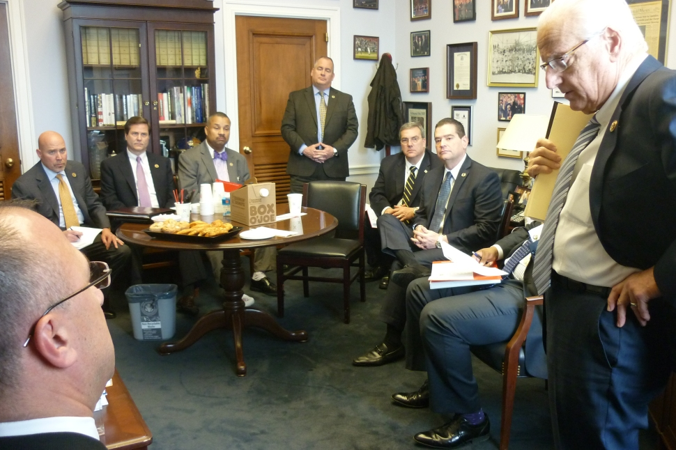 U.S. Rep. Bill Pascrell (D-9) welcomes NJ PBA Prez Pat Colligan to his D.C. office on Wednesday. Also in attendance, Representatives Tom MacArthur (R-3), Don Norcross (D-1), and Donald Payne (D-10).