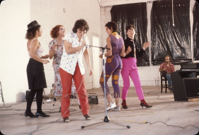 "Performance group Disband plays at MoMA PS1 in 1979, part of the ""Martha Wilson"" exhibition at Pratt Manhattan Gallery. (Photo courtesy courtesy Independent Curators International and the artist)"