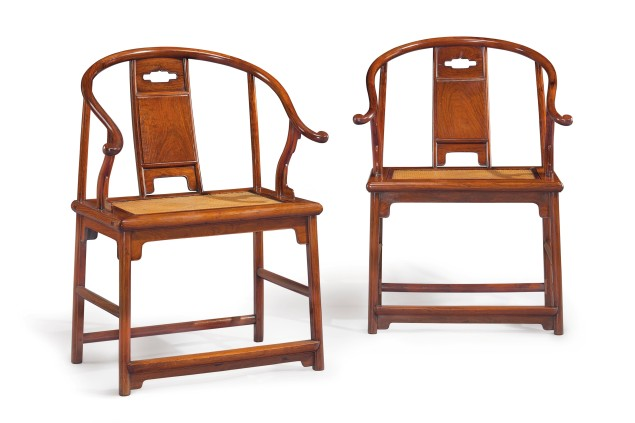 Set of four Huanghuali horseshoe-back armchairs, Ming Dynasty, 17th Century, estimated to sell for $800,000 to $1.2 million.