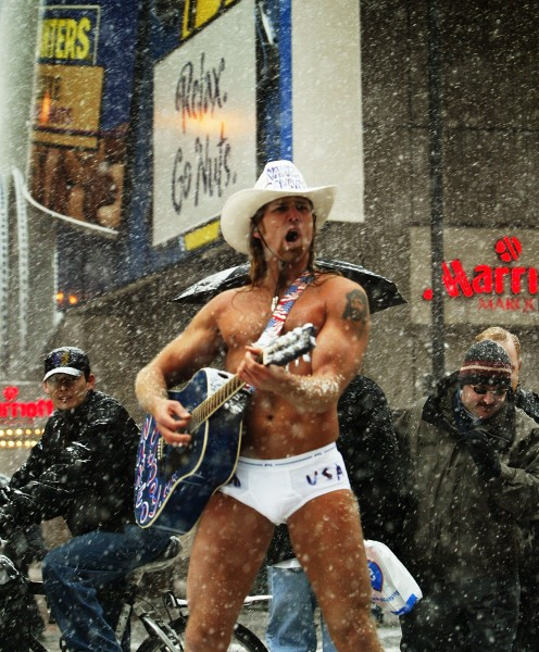 On a freezing day in New York, the Naked Cowboy's concerns are much more external. (Photo: Robert Giroux/Getty Images)