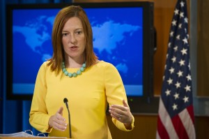 Psaki's habit of wearing a different brightly colored top to correspond with the days of the week drew much attention from Russian viewers. (SAUL LOEB/AFP/Getty Images)