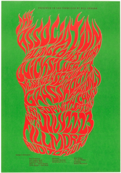 The Association band poster for 1966 Fillmore Auditorium concert in San Francisco, designed by Wes Wilson. (Photo: Matt Flynn courtesy Cooper Hewitt, Smithsonian Design Museum)