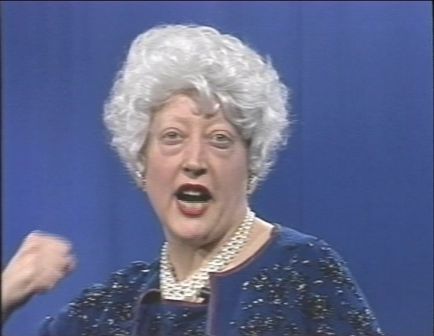 "Martha Wilson as Barbara Bush (1991), part of the exhibition ""Martha Wilson"" on view from February 20 to 30.  (Photo courtesy Independent Curators International and the artist)"