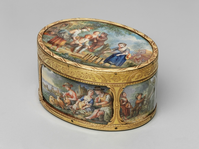 Snuff Box, (ca. 1770), Marked by Jean-Baptiste Bertin (French, master 1740, died 1771) Retailed by Jean George (French (Paris), active 1752-1765), French (Paris)  Gold, enamel decoration, Gift of the heirs of Bettina Looram de Rothschild. (Photo: MFA Boston)