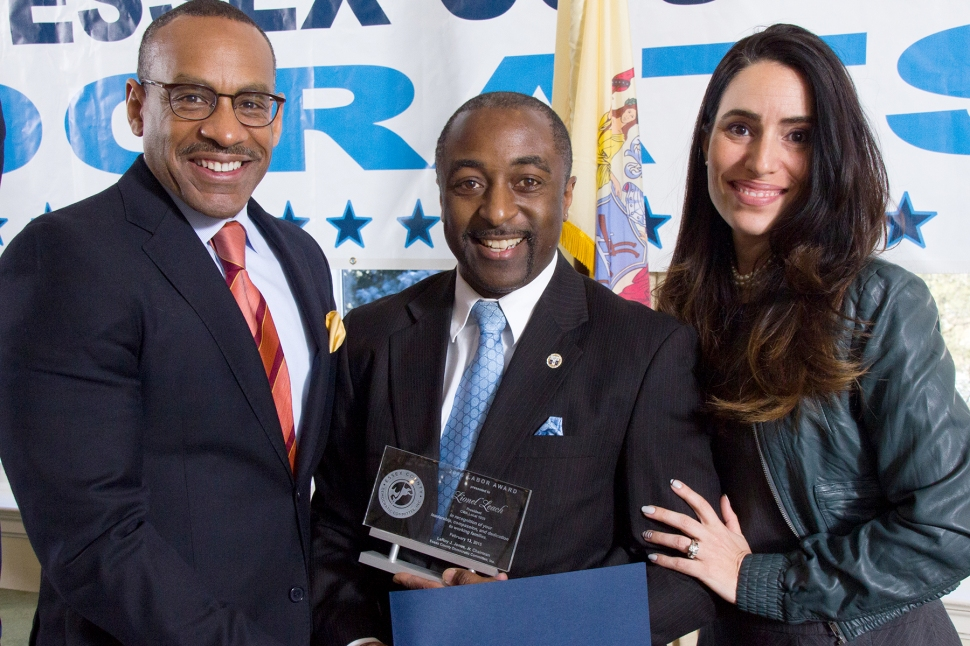 Essex County Democratic Chairman Leroy Jones, left, this morning with CWA Leader (and honoree) Lionel Leach and state Senator M. Teresa Ruiz (D-29).