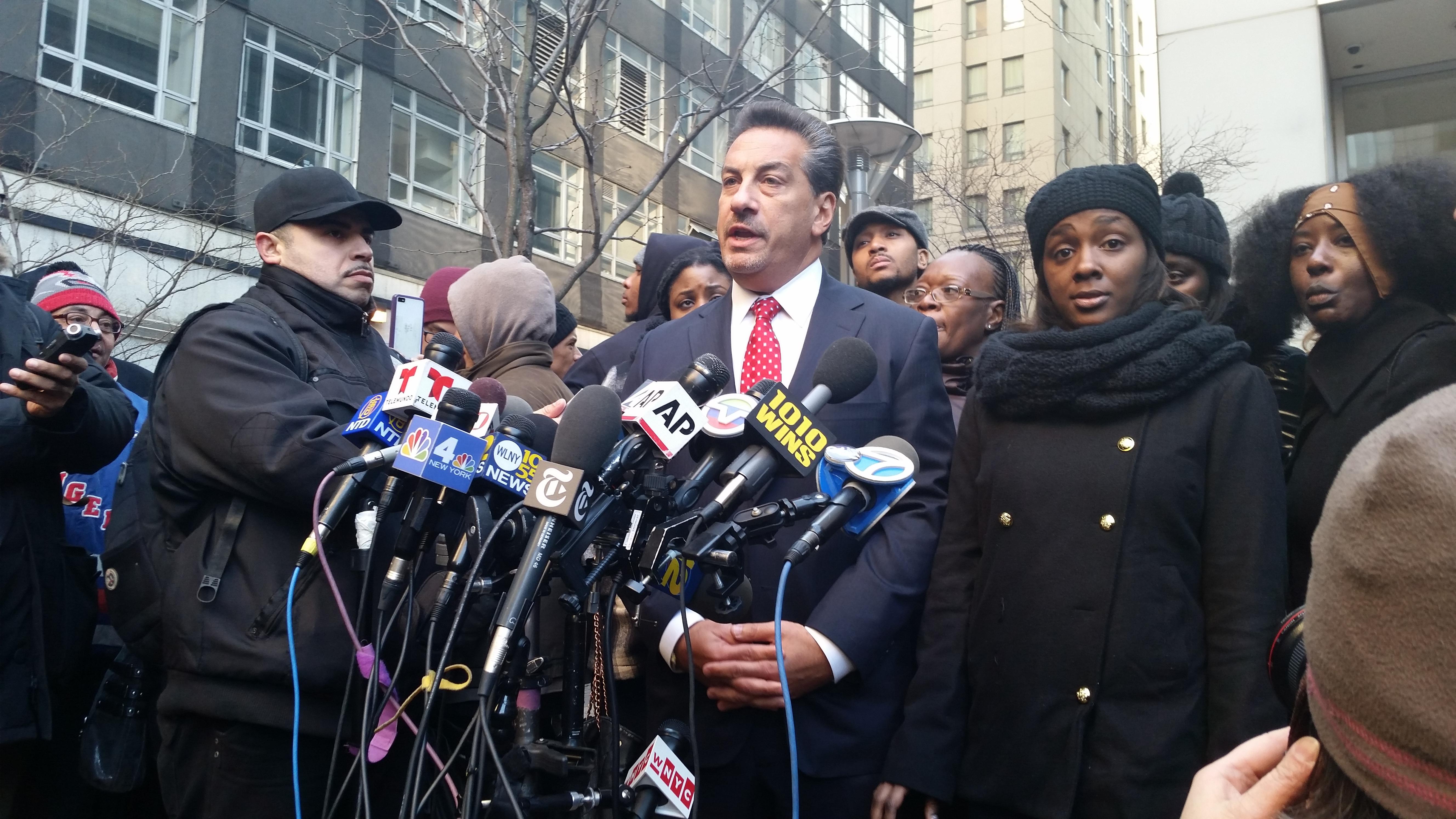 Attorney Scott Rynecki and Kim Ballinger, the partner of Akai Gurley (Photo: Ross Barkan/New York Observer).