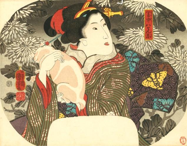 """Utagawa Kuniyoshi, """"Chrysanthemums,"""" 1844-48 (Photo courtesy Hiraki Ukiyo-e Foundation)."""