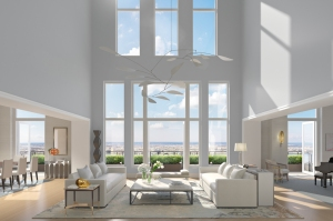 30 Park Place - Four Seasons Private Residences Downtown, New York Duplex Living Room_credit_Archpartners