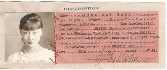 Anna May Wong Certificate of Identity, August 28, 1924. (Photo: National Archives at San Francisco (54099))
