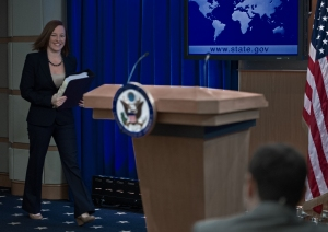 Despite a series of gaffes so striking that her last name was used as a synonym for malaprop, Psaki, who brings a sense of fun to her daily job, grew on the Russian people, who expressed their dismay over her coming exit and well wishes for her coming baby. (PAUL J. RICHARDS/AFP/Getty Images)