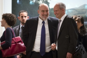 Ron Prosor, (C) Israeli United Nations Ambassador, will be appearing at Cooper Union Tuesday night, with or without NYU Hillel's support. (John Minchillo-Pool/Getty Images)