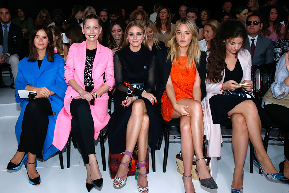 PARIS, FRANCE - SEPTEMBER 26:   (L-R) Miroslava Duma, Lucie de la Falaise, Olivia Palermo, Camille Rowe and Esther Garrel attend the Christian Dior show as part of the Paris Fashion Week Womenswear Spring/Summer 2015 on September 26, 2014 in Paris, France.  (Photo by Rindoff/Dufour/French Select/Getty Images)