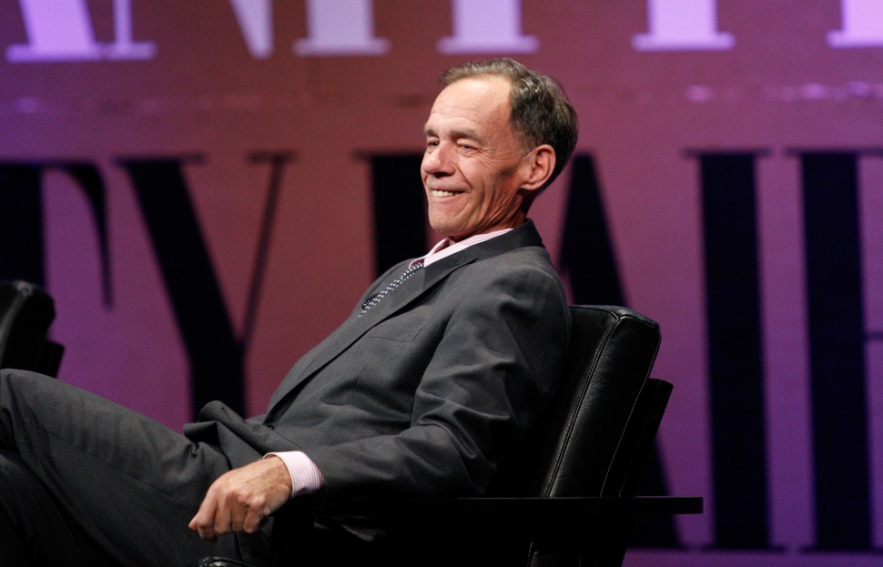 The New York Times Columnist and Moderator David Carr speak onstage during '?Missing Ink: The New Journalism? at the Vanity Fair New Establishment Summit at Yerba Buena Center for the Arts on October 8, 2014 in San Francisco, California. (Photo by Kimberly White/Getty Images for Vanity Fair)