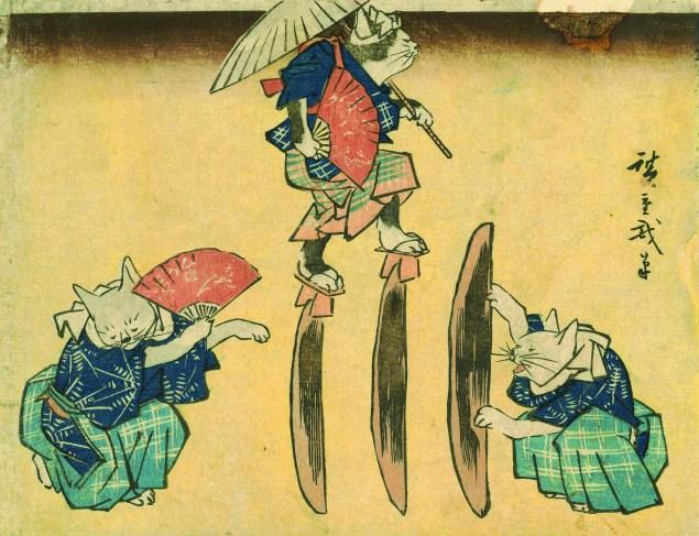 "Utagawa Hiroshige, ""Cat Crossing to Eat,"" 1830–44 (Photo courtesy Hiraki Ukiyo-e Foundation)."