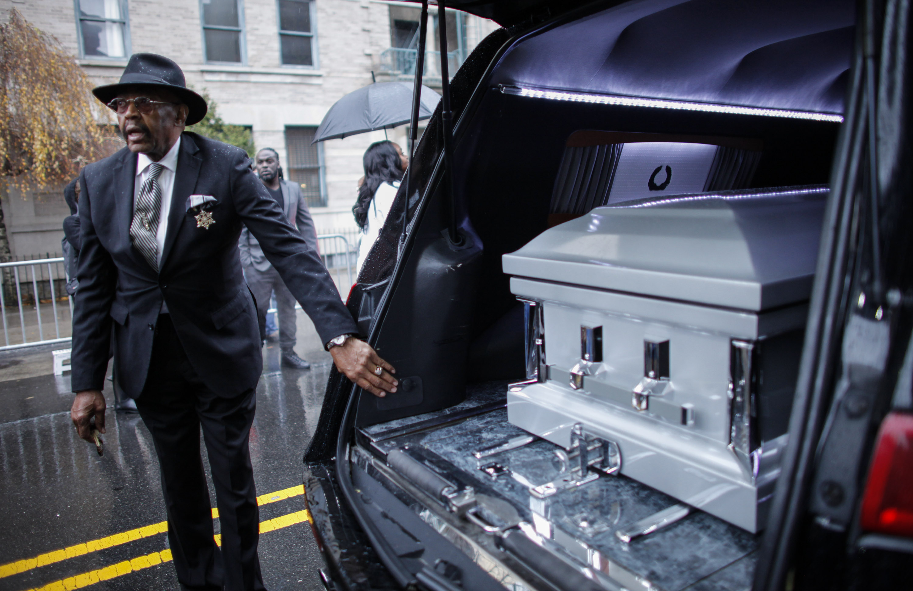 Akai Gurley's casket at his funeral on December 6, 2014 (Photo:  Kena Betancur/Getty Images).