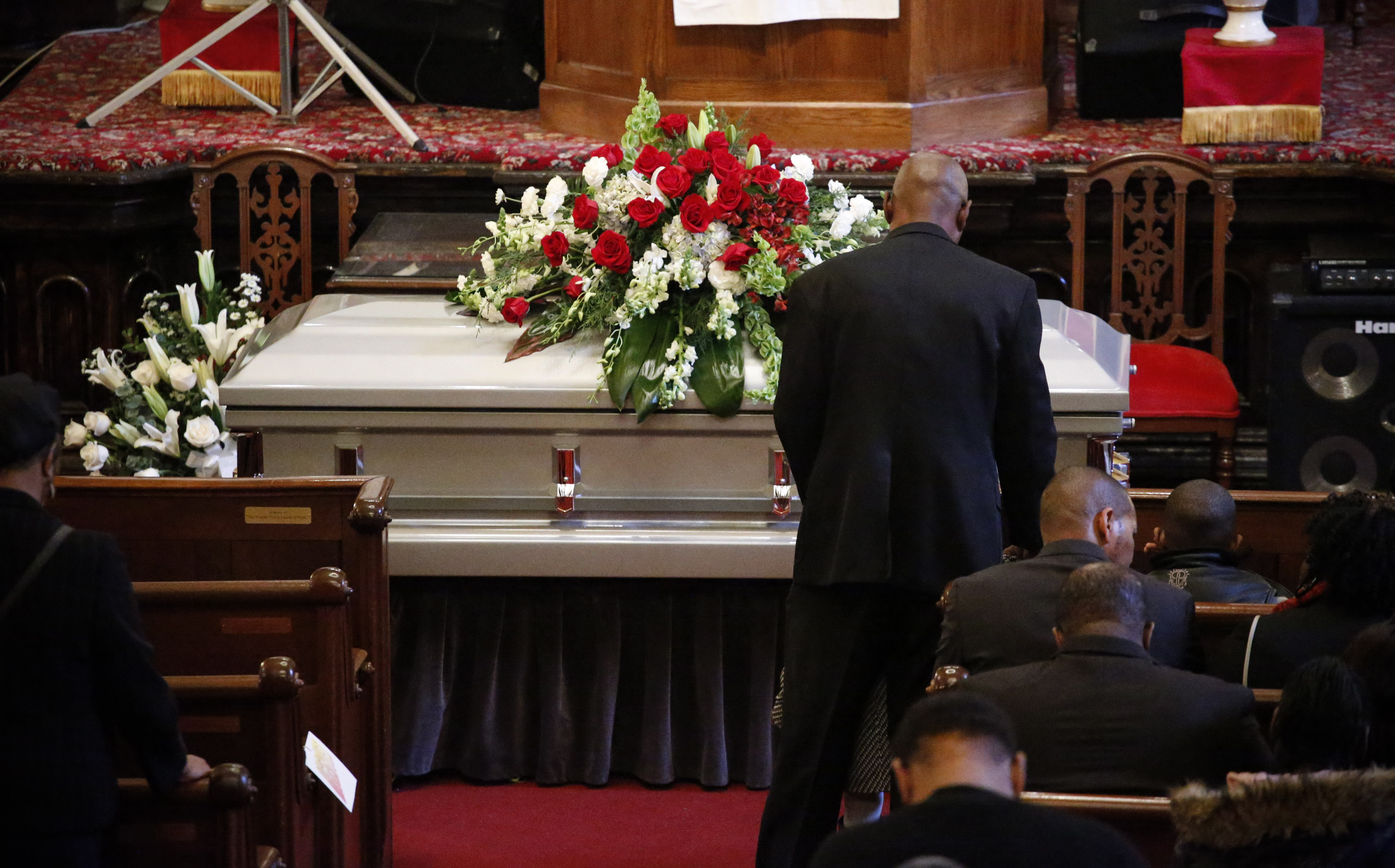 The casket of Akai Gurley at his funeral. (Photo by Kena Betancur/Getty Images)