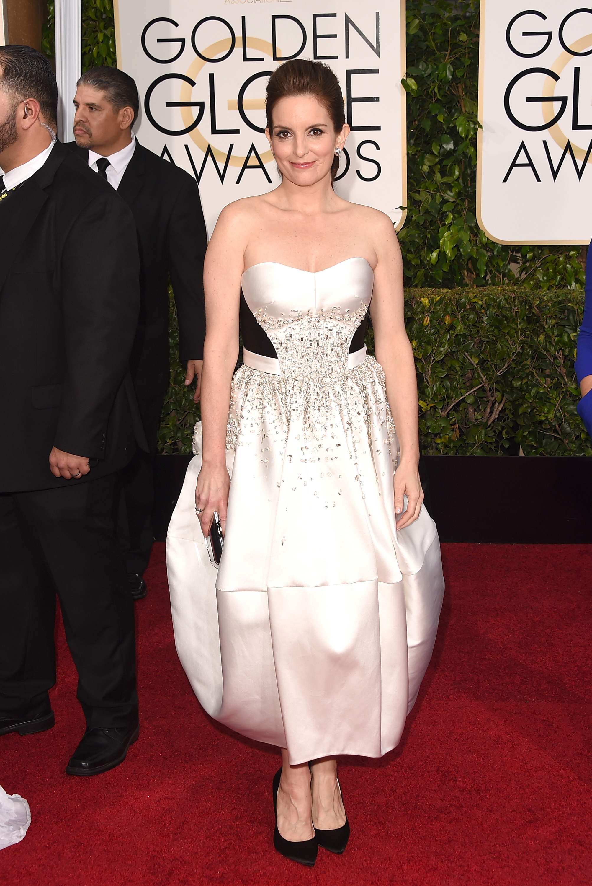Unfortunately, Tina Fey's daring choice at the Golden Globes was a fashion flop (Photo: Getty).