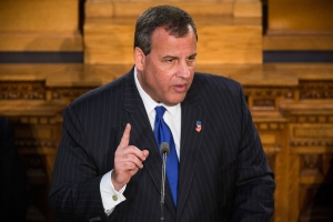 New Jersey Governor Chris Christie delivering the 2015 State of the State address. (Photo by Andrew Burton/Getty Images)