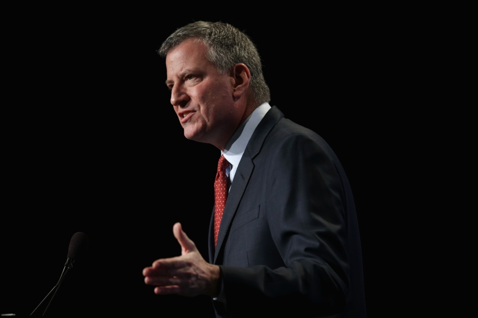 New York City Mayor Bill de Blasio speaks during a session of the 83rd Winter Meeting of the United States Conference of Mayors January 23, 2015 in Washington, DC. Mayors from across the country gathered in the nation's capital for the annual meeting. (Photo by Alex Wong/Getty Images)