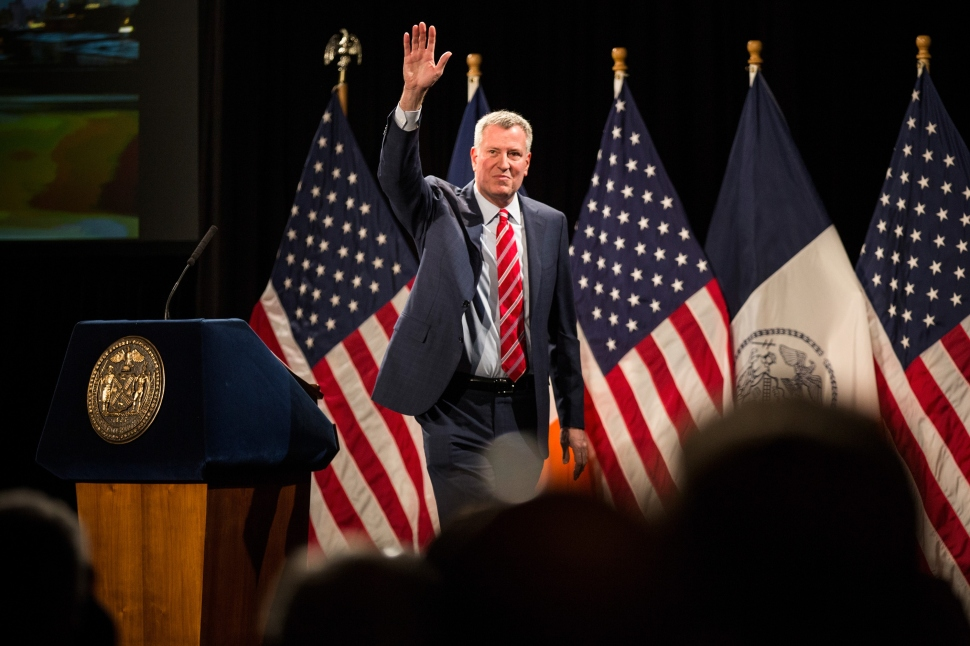 New York City Mayor Bill de Blasio delivers his State of the City address at Baruch College on February 3, 2015 in New York City. (Photo: Getty Images)