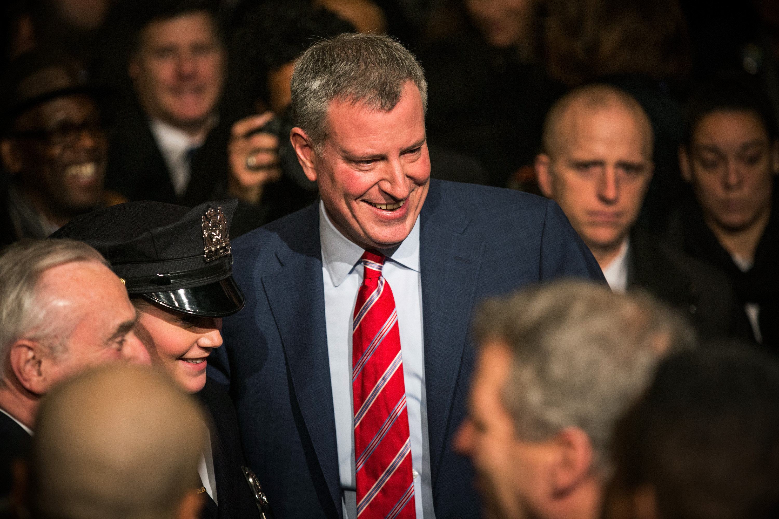 Mayor Bill de Blasio at his State of the City address today. (Photo by Andrew Burton/Getty Images)