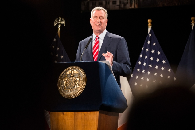 Mayor Bill de Blasio delivers his State of The City speech on Tuesday. (Andrew Burton/Getty)