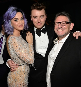 Katy Perry and Sam Smith and Universal Music Group CEO Lucian Grainge. (Photo by Lester Cohen/WireImage)