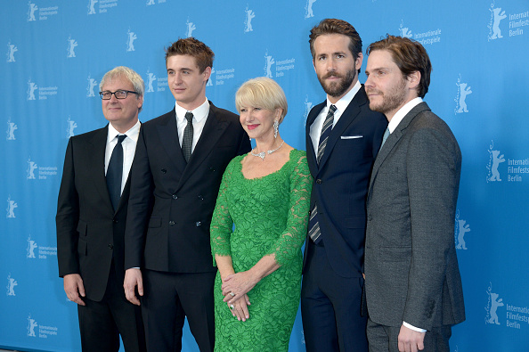 Simon Curtis, Max Irons, Helen Mirren, Ryan Reynolds and Daniel Bruehl at the 'Woman in Gold' premier during the 65th Berlinale International Film Festival. (Photo by Dominique Charriau/WireImage)