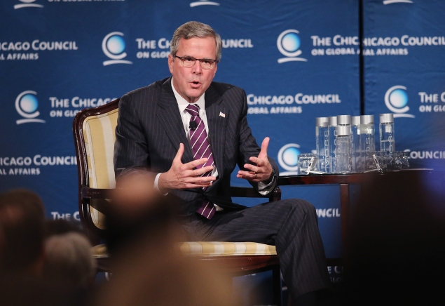 Jeb Bush speaking to the Chicago Council on Global Affairs on February 18. (Photo by Scott Olson/Getty Images)
