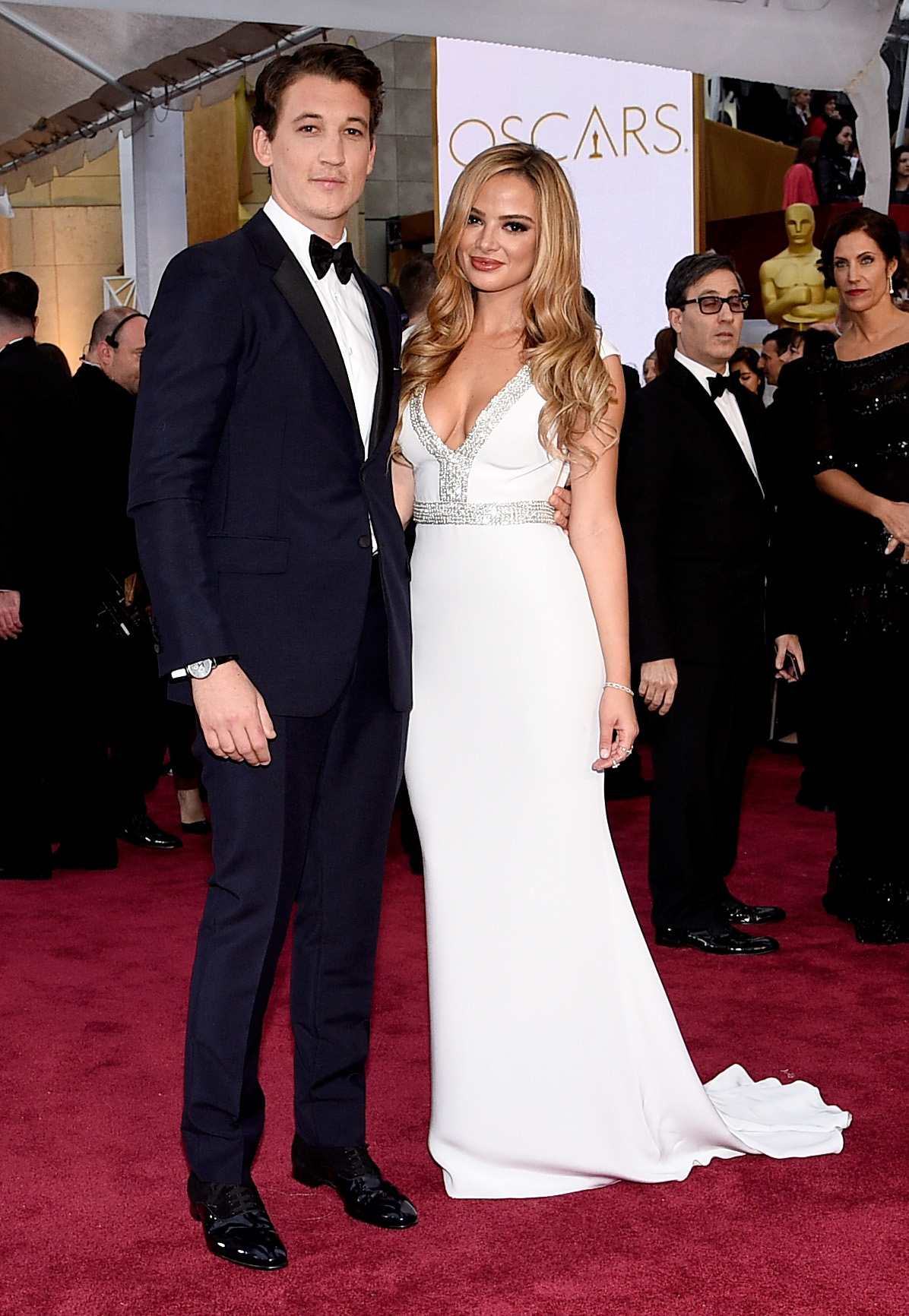 Miles Teller and Keleigh Sperry at the 2015 Academy Awards (Photo: Getty).