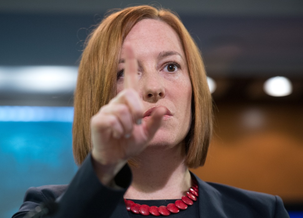 US State Department spokeswoman Jen Psaki was a frequent target of ridicule throughout her Russia posting. But now that she's pregnant and heading back to Washington, many Russians will miss her. (NICHOLAS KAMM/AFP/Getty Images)