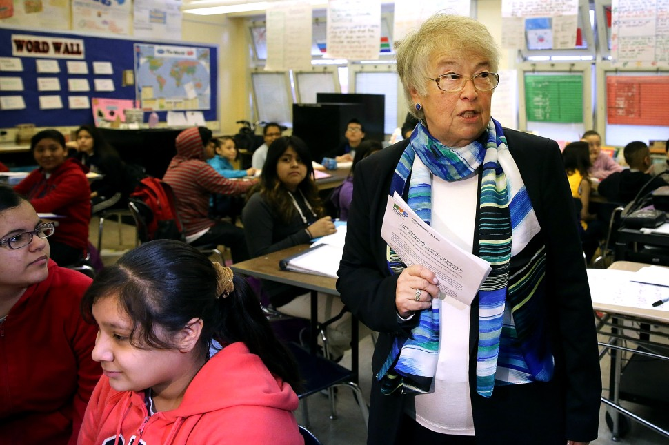 New York City Schools Chancellor Carmen Farina visits J.H.S. 088 Peter Rouget school in Brooklyn on April 7, 2014 in New York City. (Photo: Spencer Platt/Getty Images)