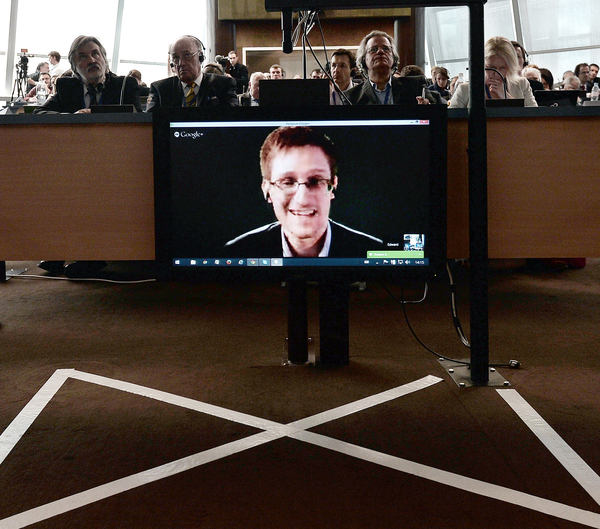 Edward Snowden, laughing from god knows where on the other side of the planet somewhere. (Photo: Getty Images)