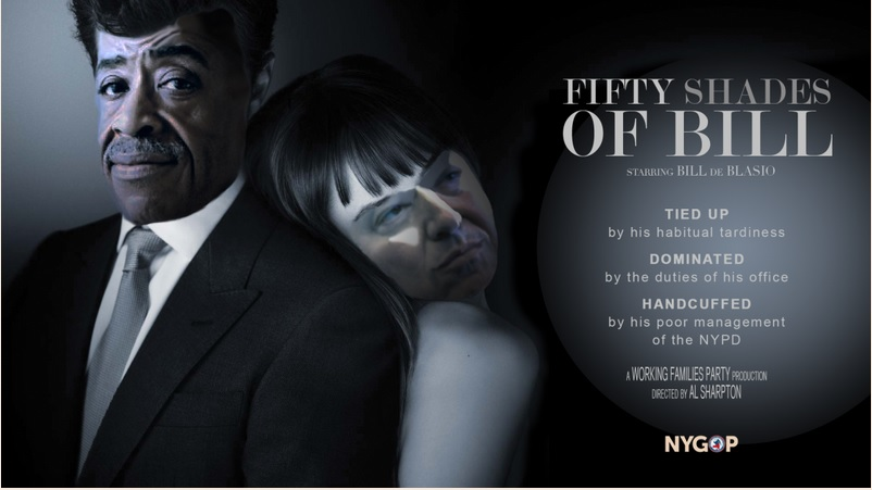"""The New York State Republican Party compared Mayor Bill de Blasio's relationship with Rev. Al Sharpton to """"50 Shades of Grey."""""""